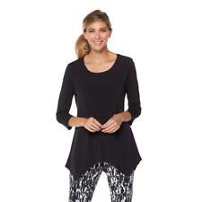 Slinky Brand Women's 2-pack 3/4-Sleeves Hanky-Hem Knit Tunics Top Small Size HSN