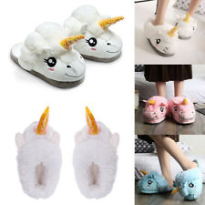Mens Womens Novelty Unicorn Slip On Plush Slippers Cosy Fluffy Cotton Shoes
