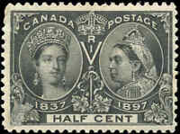 1897 Mint Canada F+ Scott #50 1/2c Diamond Jubilee Stamp Issue Hinged