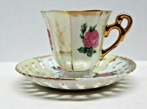 Vintage Tea Cup And Lace Saucer Set