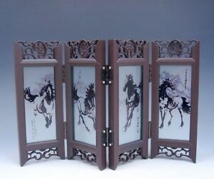 Home Decor Chinese Desktop Screen 4 Running Horses Gift Box BRAND NEW #04301407