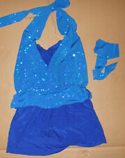 Dance skateCostume Faux Sequin Halter Styling Clearstrap Jazz costume ch/ladies