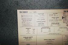 1964 Rambler Series 10 Classic Models 195.6 CI L6 SUN Tune Up Chart Great Shape!