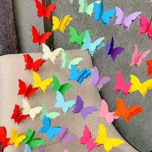 3D Paper Festival Hanging Decor Butterfly Garland Bunting Wedding Party Birthday
