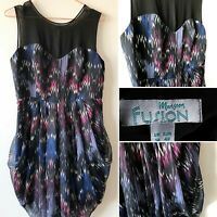 MONSOON black pink blue party dress 12 tulip retro 80s Vibe disco look