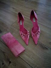 Dune Pink Stiletto Heels, Size 6, With Matching clutch Bag