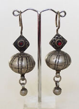 Antique Orient nomades Boucles d'oreilles afghan tribal Kuchi tussles vintage earring 17/2