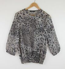 Exquisite DAVID LAWRENCE pure silk muted animal print blouse -Size 12 10