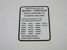 MASSEY FERGUSON PATENT PENDING DECAL FITS 130 135 148   NEW