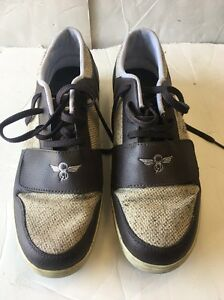 PRE OWNED CREATIVE RECREATION LOW TOP SHOES SIZE:9 Brown/Khaki