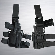 Tactical Leg Holster New - Black Drop Leg Style - Police Military SWAT Paintball