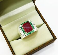 Natural Ruby & Emerald Gemstone with 925 Sterling Silver Men's Ring