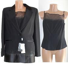 Giacca canotta completo CLIP 46 nero con SWAROWSKY donna set sotto giacca