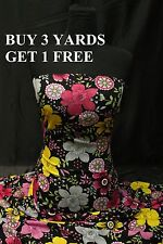 Pink Black Yellow Floral Print 100% Polyester dress fabric material CLEARANCE