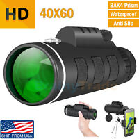 40X60 Zoom Optical HD Lens Monocular Telescope+ Tripod+ Clip For Universal Phone