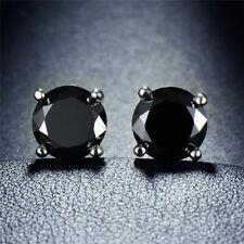 Black Diamond Created Stud Earrings Women Earrings and Mens 14k White Gold