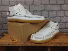 F-Troupe Mens UK 9 UE 43 bianco scarpe in cuoio