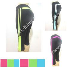 Junior Athletic Sports Fitness Gym Training Waistband Yoga Capri Pants XS~L