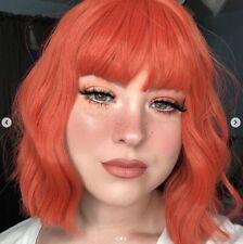 ATOZ Orange Short Curly Wig Charming Lady Bob with Fringe Wave Full Wig With Wig