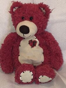 "First & Main Red Tender Teddy Bear Plush 12"" with Hearts Stuffed Animal Toy"