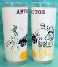 Pair Vtg ANCHOR HOCKING Antique Autos 16oz HIGHBALL TOM COLLINS TUMBLERS GLASSES