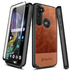 For Motorola Moto G Stylus 2020 Case Shockproof Leather Cover + Tempered Glass