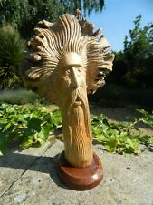 Wooden Green Man Carving - Hand Carved Green Man of the Woods in Parasite Wood