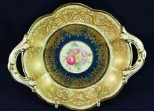 BISHOP & STONIER BLUE & GOLD SMALL FLORAL DISH c. 1936
