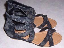 GROOVE Avril Black Stonewash Denim Gladiator Sandals Wedge Heel Womens Shoes 6M
