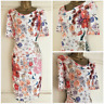 NEW EX PER UNA M&S IVORY PINK BLUE RED FLORAL PRINT RUCHED DRESS SIZE 10 - 22