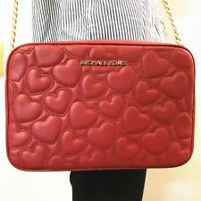 NWT Michael Kors Quilted Hearts Large EW Crossbody Leather Bag Scarlet Red