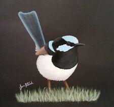 Small Painting 7 X 7 - Acrylic Original Art - 'Blue Wren'