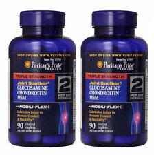 Puritan's Pride Triple Strength Glucosamine Chondroitin MSM 90 Caplets 2 PACK