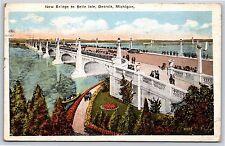 New Bridge to Belle Isle in Detroit, Michigan White Border Postcard