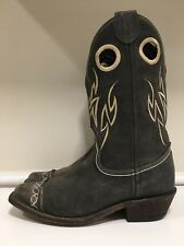 Justin Gray Leather Square Toe Buckaroo Cowboy Western Boots Women's Size 7.5 B