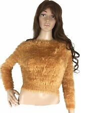Fab Womens Top Faux Faur Fur Sweater Relaxed Stretch Long Sleeve Petite Small