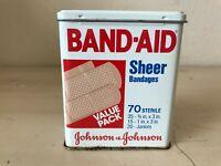 Vintage Band-Aid Metal Box Tin Sheer Strips Johnson & Johnson 70 Value Pack C1