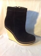Deena&ozzy Black Ankle Suede Boots Size 6