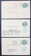 Us postal Stationery set of 3 cards revalued Stamps GS 1c 1952 EE. UU. post (h-9342