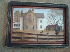"Primitive Country *2--Story House* black frame 12 1/2"" x 9"""