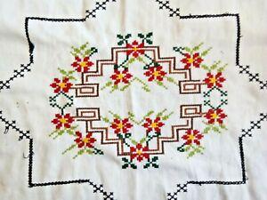 Hand Embroidered Pillow Sham, Cross Stitch