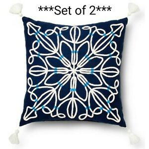 "*NEW* *SET of 2* Blue Rope Medallion Decorative Throw Pillow Square 18""x18"""