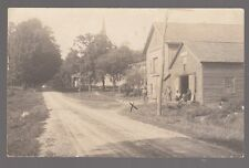 1914 Real Photo Postcard Pt. Byron, New York Blacksmith Shop Four Men in Front