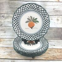 ROYAL NORFOLK  Stoneware Green Lattice Peach Fruit Round Dessert Plate Set 4