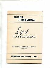 Vintage Cruise Line PASSENGER LIST Nov 18 1950 FURNESS QUEEN OF BERMUDA