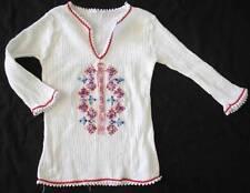 Vintage cotton Greek Greece embroidered cross stitched Folk Blouse Shirt kids