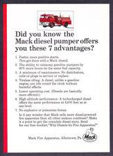 "1965 Mack Diesel Pumper Fire Truck photo ""7 Advantages"" vintage promo print ad"