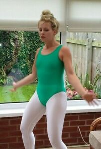 "Shiny Green Spandex Lycra Sleeveless Leotard Dancewear Small UK 10 34"""