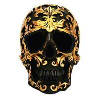 Harz gold schädel statue figur menschliches skelett kopf deko halloween U9F0