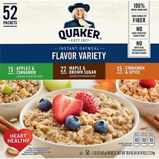 Quaker Instant Oatmeal, 3 Flavor Variety Pack, 52 Packets